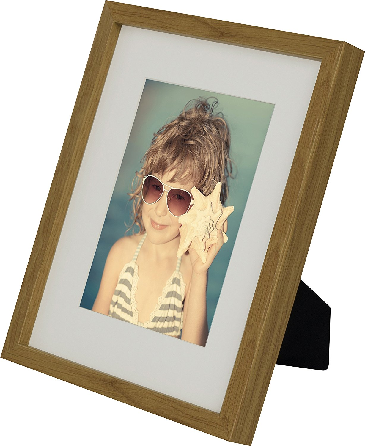 8 x 10-Inch Picture Photo Frame with mount for 5 x 7-Inch photo, OAK