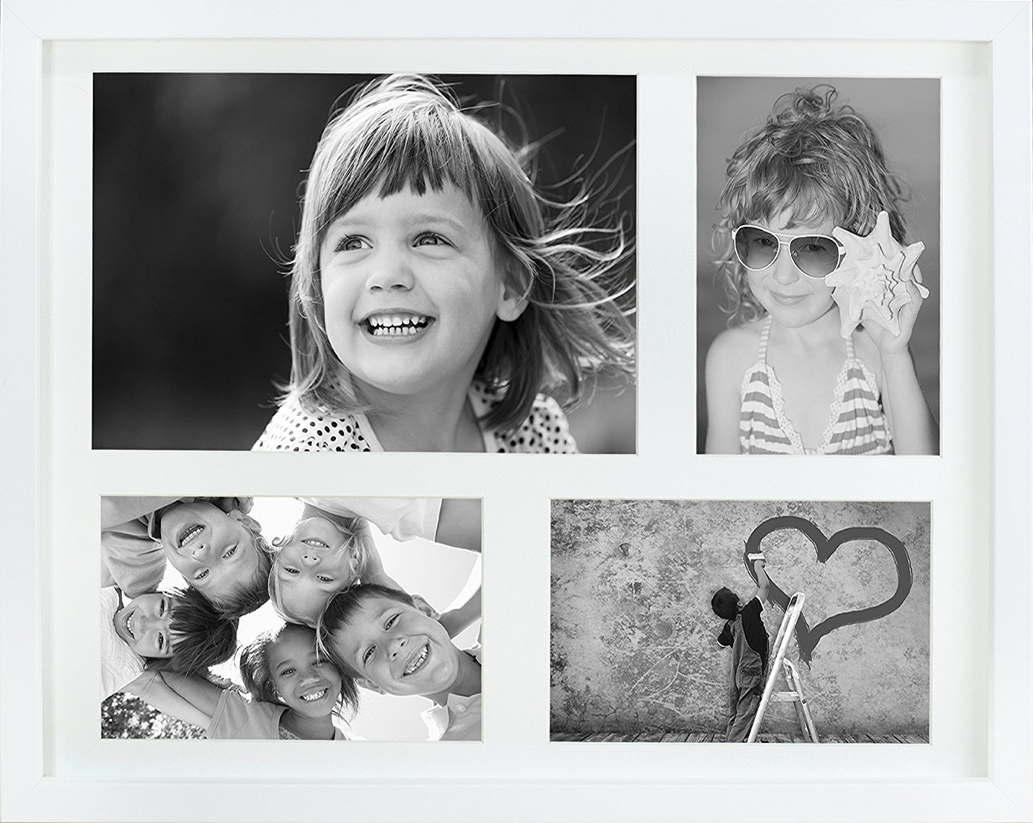 11 x 14-Inch Multi Aperture Picture Photo Frame with mount for 3 photos 4 x 6-Inch and 1 A5 photo size, WHITE
