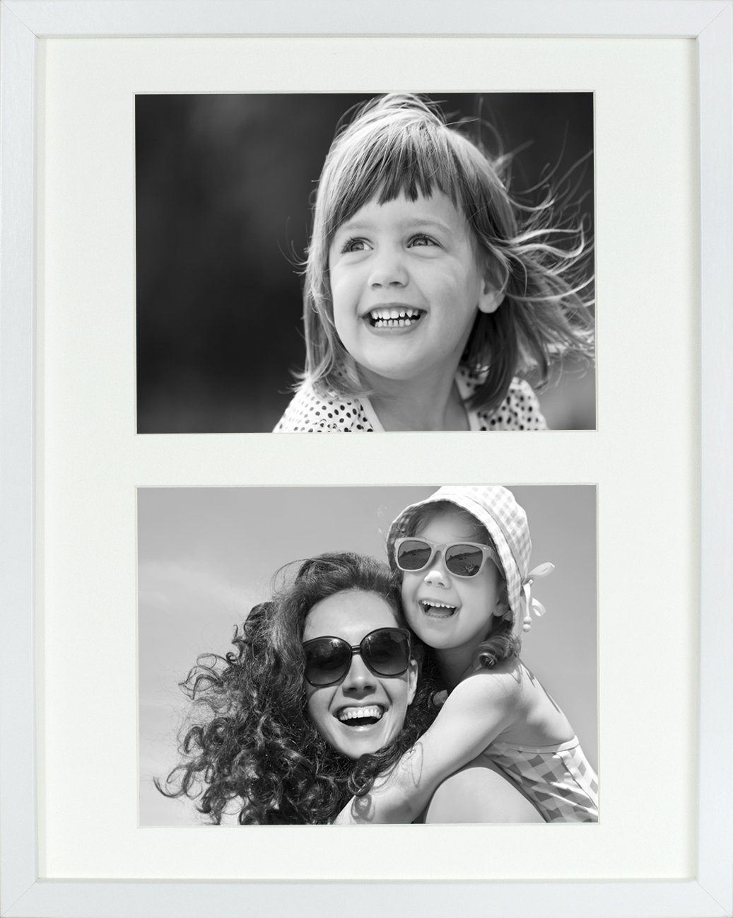 11 x 14-Inch 2 Aperture Picture Photo Frame with mount for 2 photos 6 x 8-Inch, WHITE