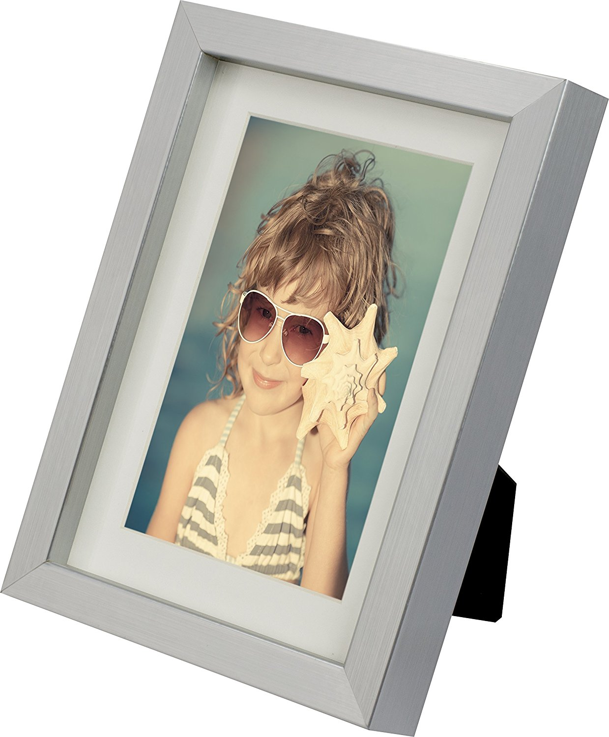 5 x 7-Inch Picture Photo Frame with mount for 4 x 6-Inch photo, ALU