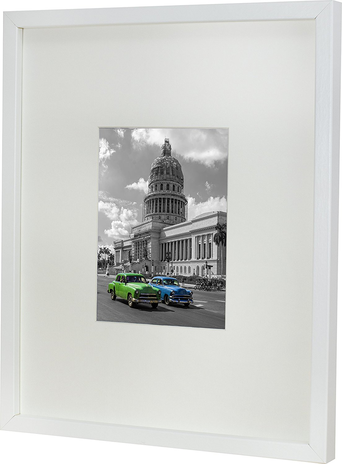 11 x 14-Inch Picture Photo Frame with mount for 5 x 7-Inch photo, WHITE