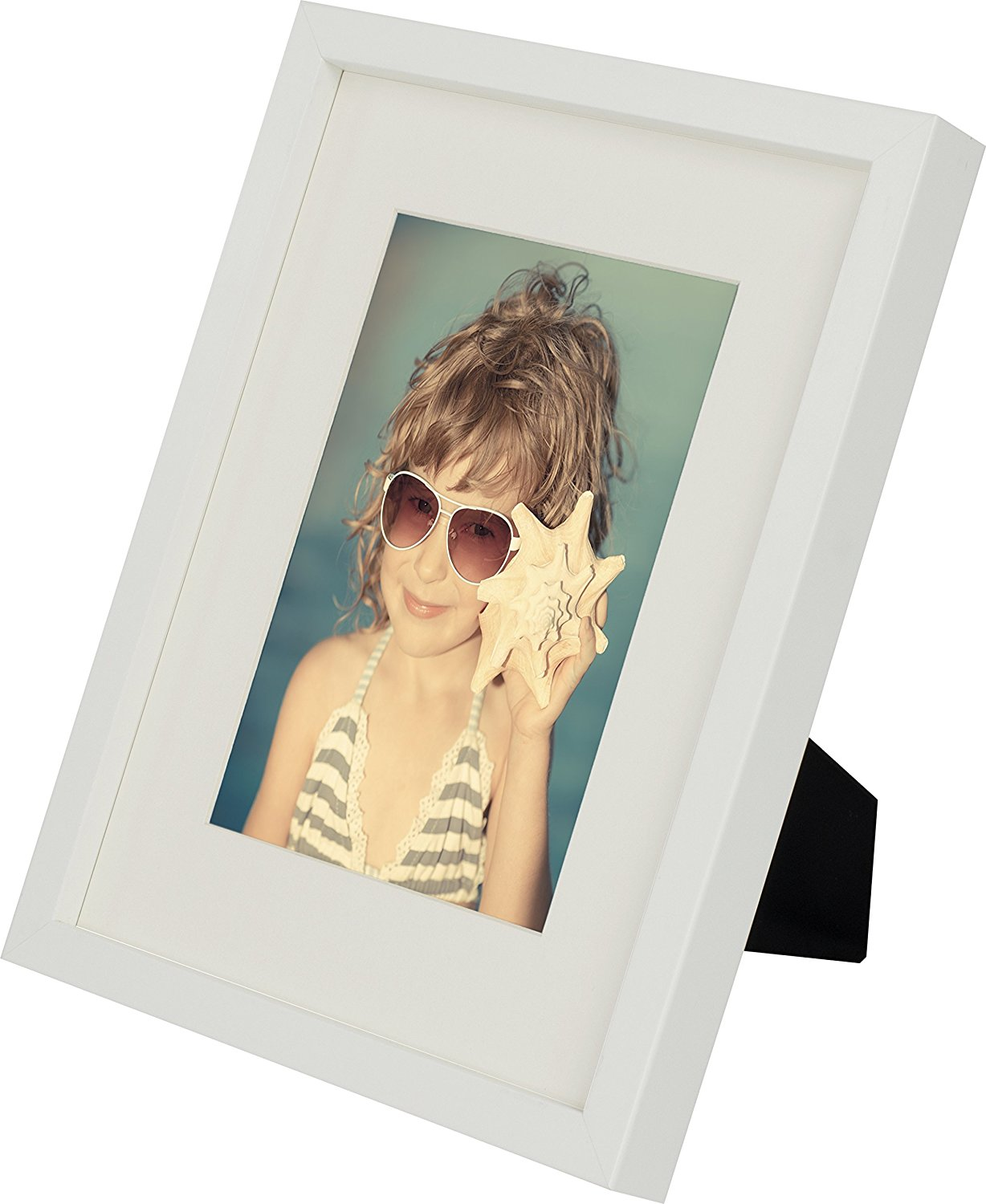 8 x 10-Inch Picture Photo Frame with mount for 5 x 7-Inch photo, WHITE