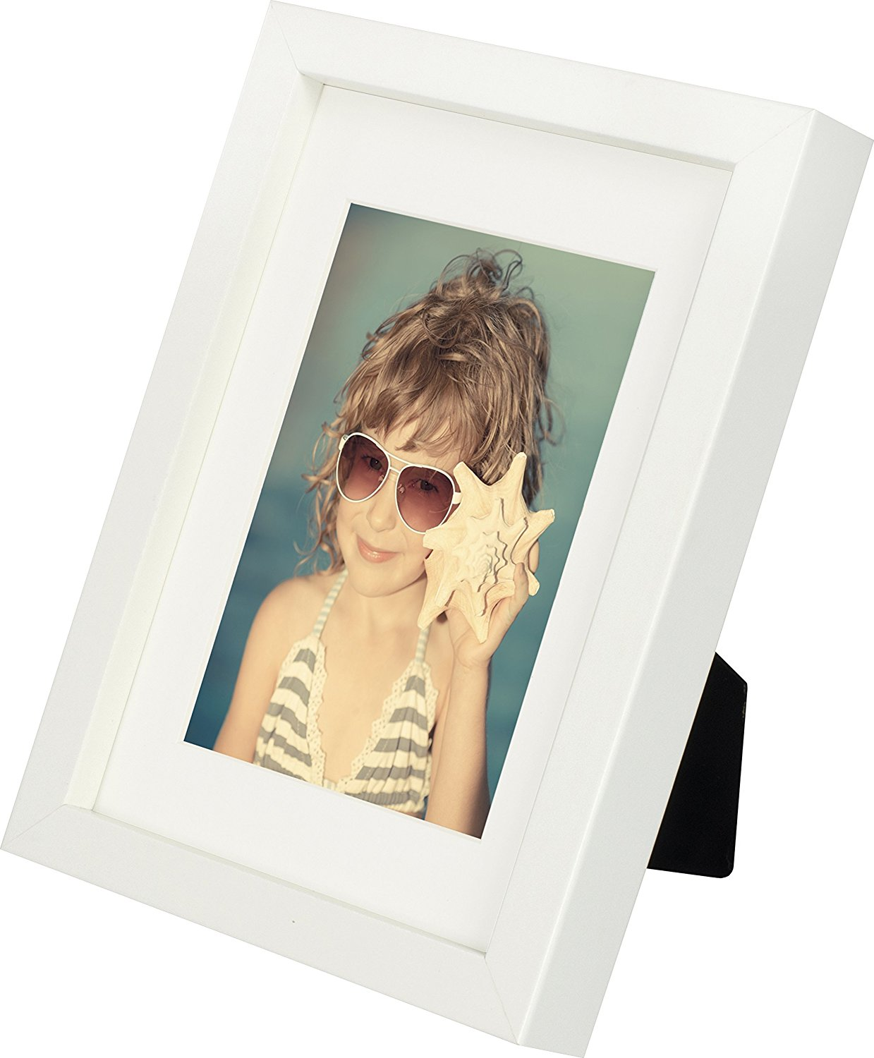 5 x 7-Inch Picture Photo Frame with mount for 4 x 6-Inch photo, WHITE