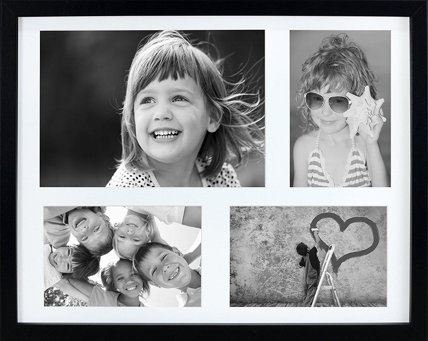 11 x 14-Inch Multi Aperture Picture Photo Frame with mount for 3 photos 4 x 6-Inch and 1 A5 photo size, BLACK